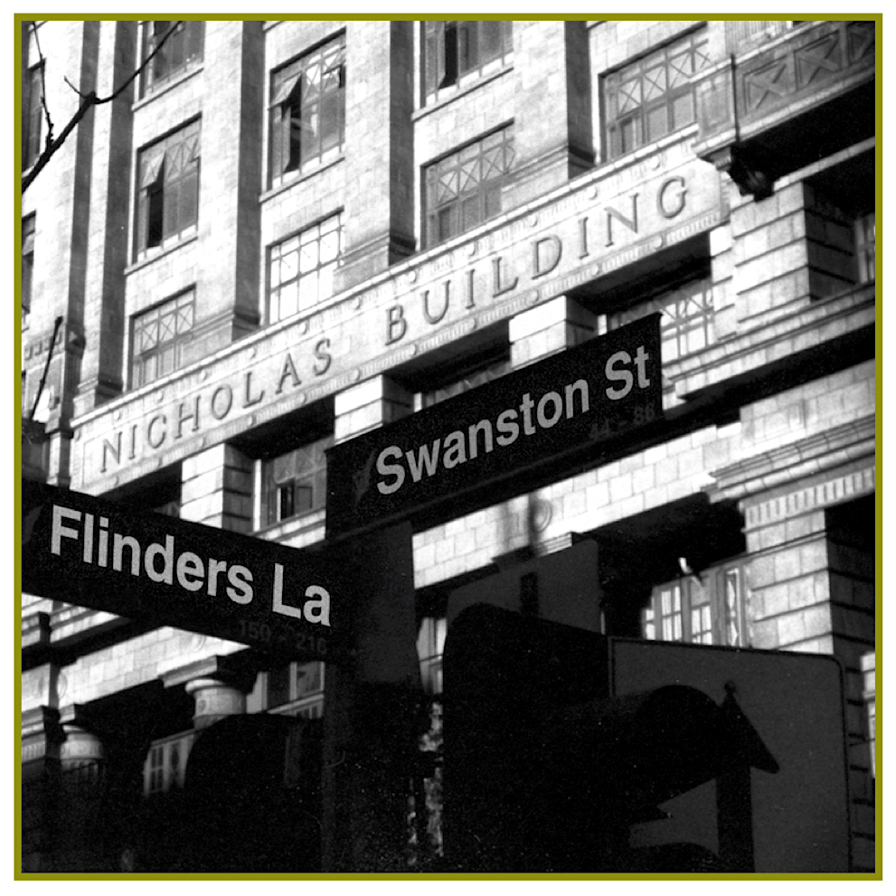 Evocative street view of the Nicholas Building with signs for Swanston Street and Flinders Lane