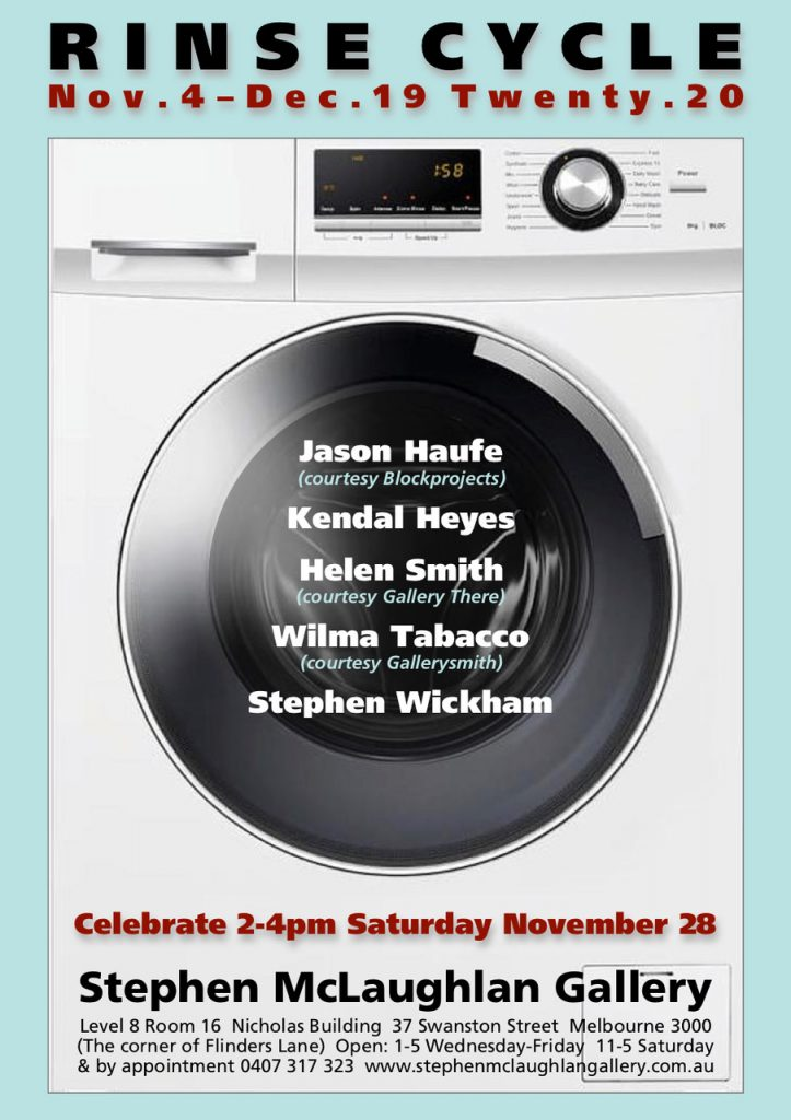Exhibition flyer - washing machine with artists' names