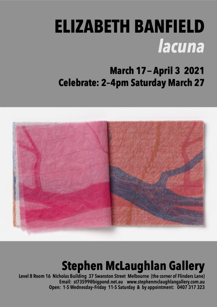 Art exhibition flyer for Elizabeth Banfield at the Stephen McLaughlan Gallery