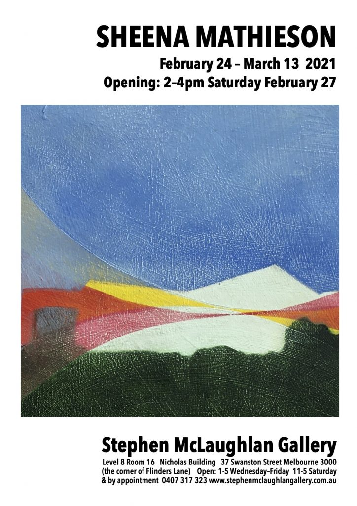 Art exhibition flyer for Sheena Mathieson at the Stephen McLaughlan Gallery