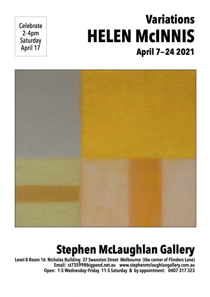 Art exhibition flyer for Helen McInness at the Stephen McLaughlan Gallery