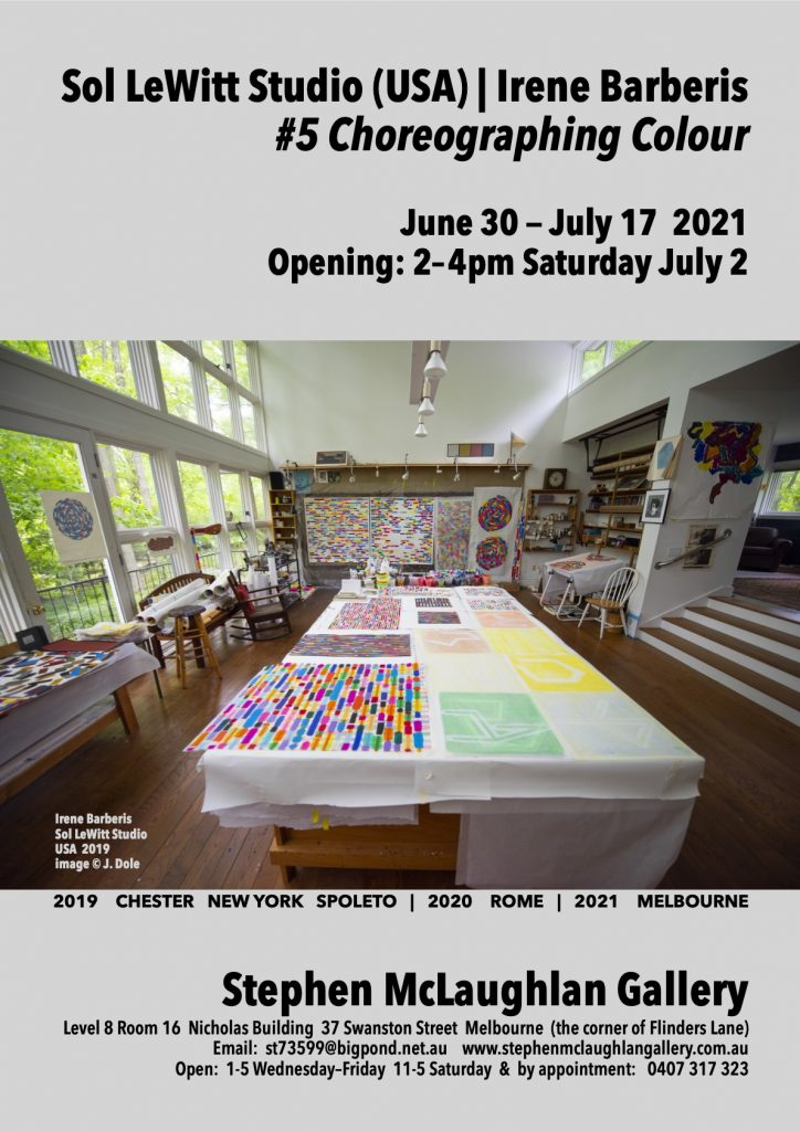 Flyer for Irene Barbaris's exhibition that features a photograph of Irene's studio with a table covered with colourful artworks and natural light flooding the huge space