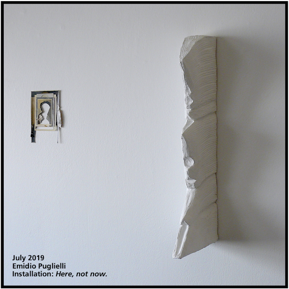 Textured artworks on a white wall by Emidio Puglielli on display at the Stephen McLaughlan Gallery in 2019