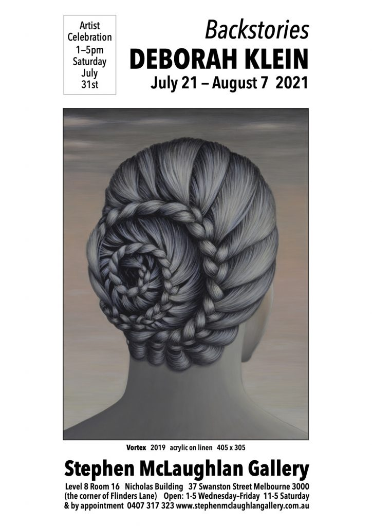 Flyer for Deborah Klein exhibition - featuring an illustration of the back of a woman's head in plaits